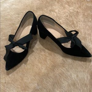 J Crew Velvet heels with grosgrain ribbon bow SZ 6